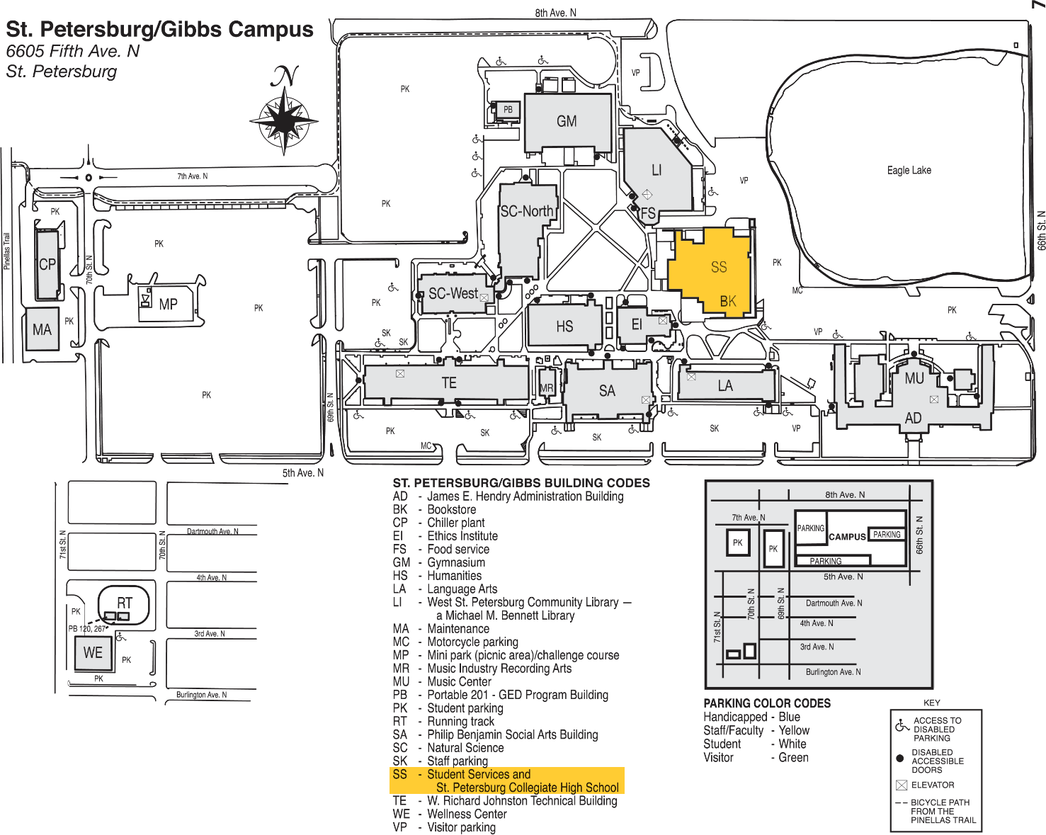 Spc Clearwater Campus Map Time Zones Map: St Pete Gibbs Campus Map